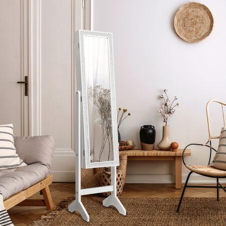 Costway Armoire à Bijoux sur Pied 2 en 1 Rangement pour Cosmétiques avec Miroirs Style Romantique Blanc