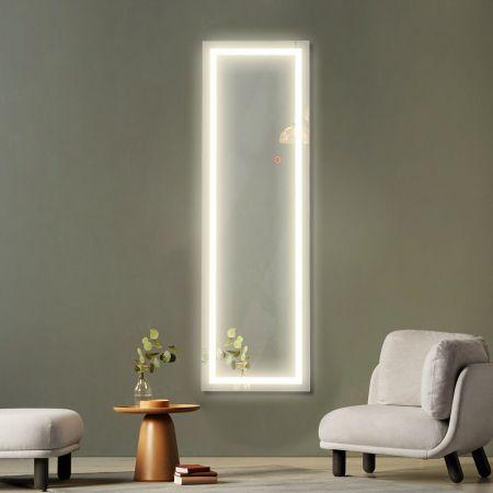 Cosway Miroir Mural LED Miroir Pleine Longueur Lumineux à 3 Couleurs Cadre en MDF 120 x 37cm Blanc