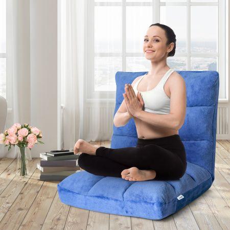 Costway Chaise de Méditation Canapé-Lit Pliable avec 14 Positions Réglables 56 x 67 x 56CM-Bleu