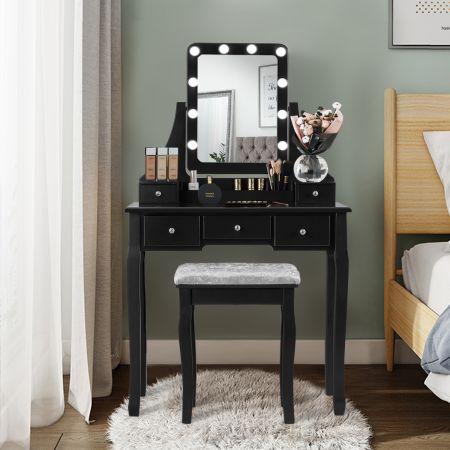 Costway Coiffeuse Table de Maquillage avec 10 Ampoules LED avec 5 Tiroirs et Boîtes de Rangement Amovibles Noir