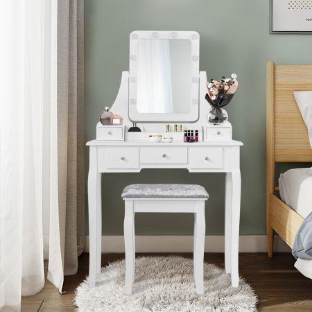 Costway Coiffeuse Table de Maquillage avec 10 Ampoules LED avec 5 Tiroirs et Boîtes de Rangement Amovibles Blanc
