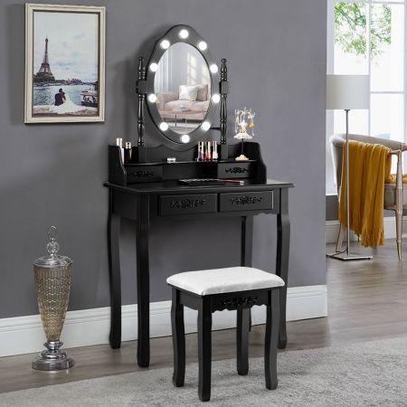 Costway Coiffeuse Table de Maquillage avec Miroir Oval et 10 Ampoules LED à Intensité Variable 4 Tiroirs de Rangement Noir