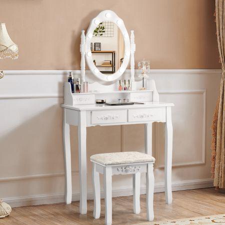 Costway Coiffeuse Table de Maquillage avec Miroir Oval et 10 Ampoules LED à Intensité Variable 4 Tiroirs de Rangement Blanc