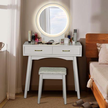 Costway Coiffeuse Table de Maquillage avec LED et Tabouret Rembourré 3 Couleurs de Lumière Réglables 80x40x132 cm Blanc