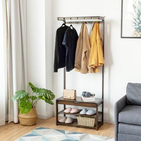 Costway Porte-Manteau Vestiaire avec avec 10 Crochets Banc et Étagère à Chaussures Style Industriel