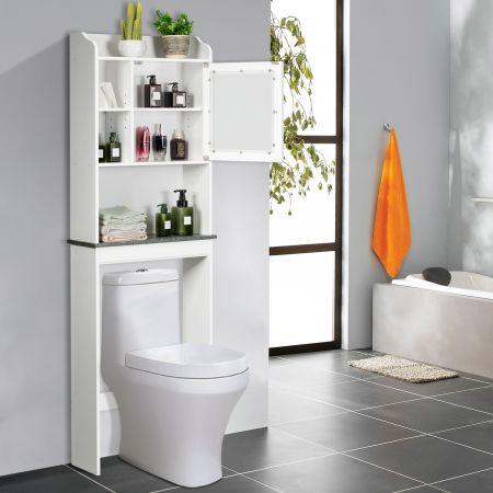 Costway Meuble Dessus Toilette Armoire de Salle de Bains avec Etagère de Rangement Polyvalent Blanc