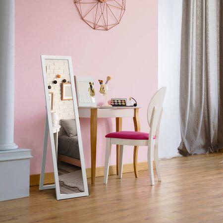 Costway Miroir sur Pied Psyché Miroir Autoportant Rectangulaire 155 x 37 cm Style Scandinave Moderne Blanc