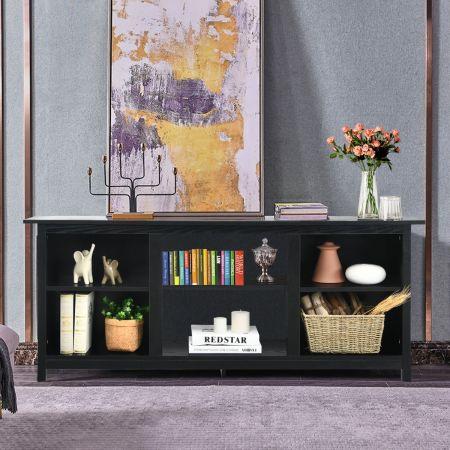 Costway Meuble TV Support de Télévision 147 CM avec 2 Niveaux pour TV jusqu'à 65 Pouce pour Salon Chambre Noir