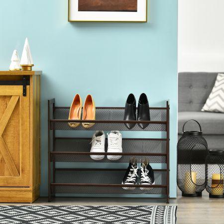 Costway Porte-Chaussures en Fer à 3 niveaux avec Étagère en Filet Poignées et Pieds Antidérapants pour Couloir Entrée Placard