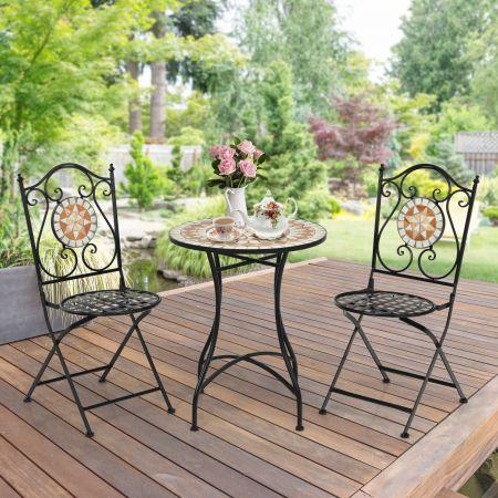 Costway Lot de 2 Chaise de Jardin Pliable Style Mosaïque en Métal Charge Max. 110 KG