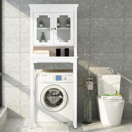 Costway Etagère Dessus Toilette Armoire de Rangement pour Salle de Bain 3 Etagères Portes en Verre Trempé Blanc