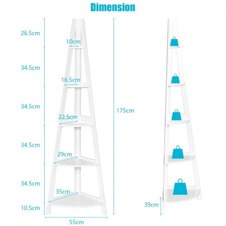 Costway Étagère d'Angle Meuble de Rangement à 5 niveaux 35 x 35 x 175 cm Blanc en MDF de Haute Résistantce