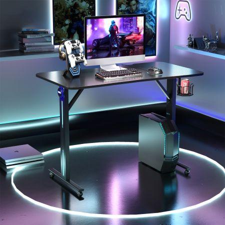 Costway Bureau Gamer Table Gaming pour PC Informatique avec LED Support de Manette et Porte-Gobelet