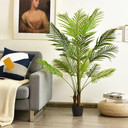 Costway Palmier Phoenix avec Pot 1,3m Plante Artificielle Décoration Intérieure pour Bureau Maison Salon