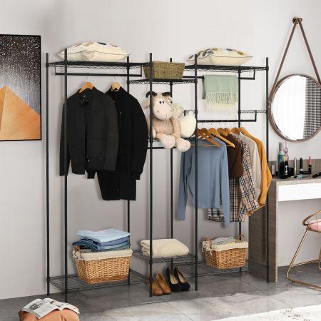 Costway Étagère Portant-Vêtements 189 x 45 x 195 CM 5 Compartiments avec 4 Barres de Suspension pour Chambre