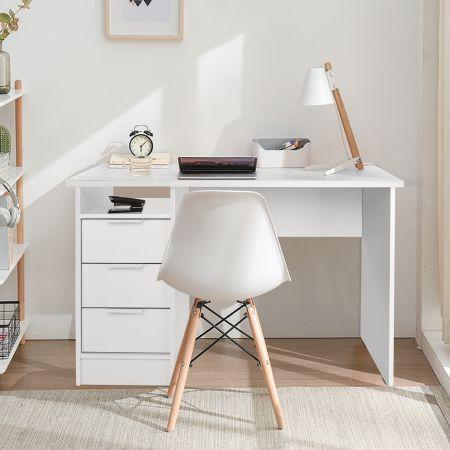 Costway Bureau Informatique Table d'Ordinateur à 3 Tiroirs en Bois de Style Moderne 120 x 76 x 55 CM Blanc