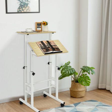 Costway Bureau Assis-Debout à Roulettes Table Imformatique pour Ordinateur Hauteur Réglable Poste de Travail Inclinable Natrurel