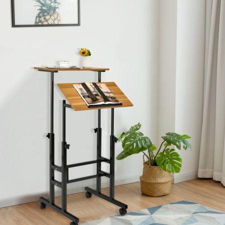 Costway Bureau Assis-Debout à Roulettes Table Imformatique pour Ordinateur Hauteur Réglable Poste de Travail Inclinable Noyer