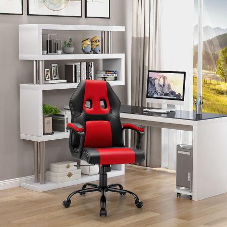 Costway Chaise Gamer Fauteuil de Bureau Réglable Pivontant avec Dossier Ergonomique pour Maison Bureau Rouge