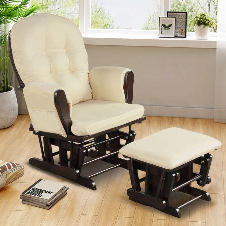 Costway Fauteuil à Bascule avec Repose-Pieds Rocking Chair en Bois Coussin Amovible Idéal pour Sieste Allaiter Lire Beige
