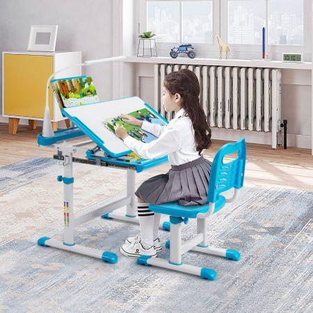 Costway Ensemble Bureau et Chaise pour Enfants avec Éclairage LED Plateau Incliné et Tiroir Coulissant Réglable en Hauteur Bleu