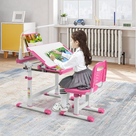 Costway Ensemble Bureau et Chaise pour Enfants avec Éclairage LED Plateau Incliné et Tiroir Coulissant Réglable en Hauteur Rose