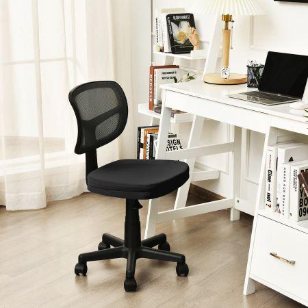 Costway Chaise de Bureau à Roulettes sans Accoudoirs Hauteur Réglable Support en Y avec Housse Amovible Noir