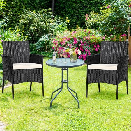 Costway 2 Chaise en Rotin Meuble de Jardin pour Terrasse avec Coussin Lavable pour Véranda Jardin Terrasse Piscine Noir