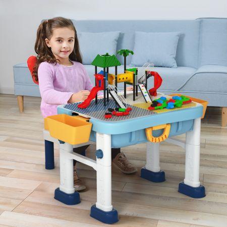 Costway 6 en 1 Table et Chaise Enfant Multi-Activités avec Stylo Table de Blocs de Construction Convertible comme Valise pour 3 Ans+