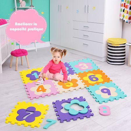 Costway Tapis de Sol Puzzle en Mousse avec Clôture à 50 Pièce Tapis Mousse Multicolore avec Motif Fleur et Chiffre