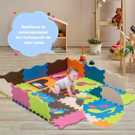 Costway Tapis de Sol Puzzle en Mousse avec Clôture à 50 Pièce Tapis Mousse Multicolore avec Motif d'Instrument de Musique