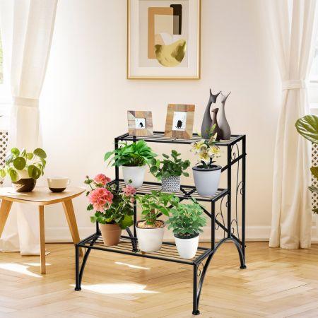 Costway Etagère Plante en Métal avec 3 Niveaux Décoratif 61 x 61,5 x 69 cm Pieds Antidérapants Charge 20kg pour Jardin Balcon