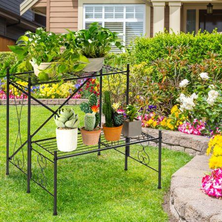 Costway Etagère Plante en Métal avec 2 Niveaux Décoratif 60 cm x 60 cm x 60,5 cm Pieds Antidérapants Charge 15kg pour Jardin Balcon