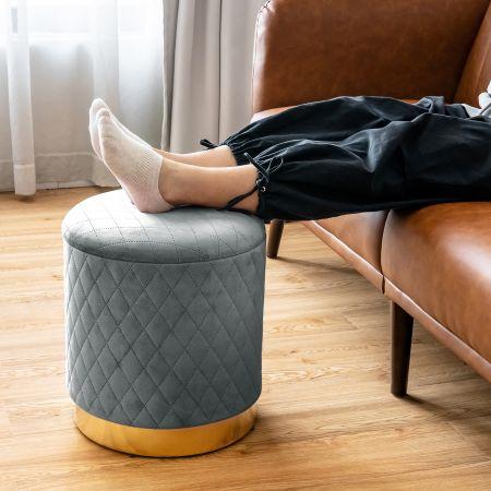 Costway Pouf de Rangement Rond avec Base en métal Couvercle Détachable et Patins Anti-Rayurespour Salon Chambre Gris