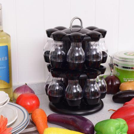 Costway 16 Étagère à Épices Carrousel à Épices de cuisine en Plastique Transparent Support d'Épices Noir