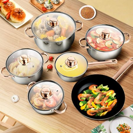 Costway Batterie de Cuisine 11 Pièces en Acier Inox. 304 Tous Feux Dont Induction Compatible Lave-Vaisselle