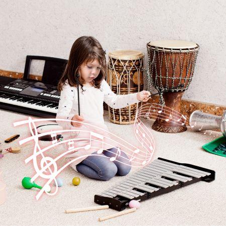 Costway Kit de Percussion Glockenspiel 30 Note avec Support et Pupitre Hauteur Réglable 58-96CM