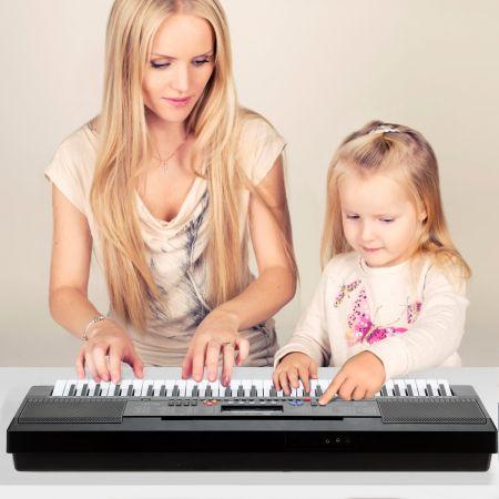 Costway Clavier Piano Electrique 61 Touches avec Stand Microphone Ecran Haut-parleur Amplificateur