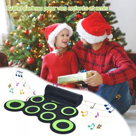 Costway Batterie Electronique Portable à 7 Pads avec 2 Haut-Parleur Roll Up Tambour avec 2 Baguettes Sortie MIDI