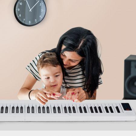 Costway Piano Numérique Portable 88 Touches avec Fonction Bluetooth Filtres Clavier Électronique Dynamiques Réglables Blanc