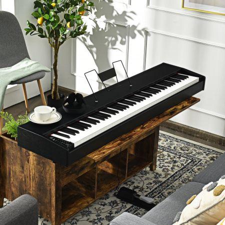 Costway 88 Touches Lestées Clavier de Piano Numérique Fonction Dual-tone MIDI Bluetooth avec Haut-parleur Intégré Pédale de Sustain