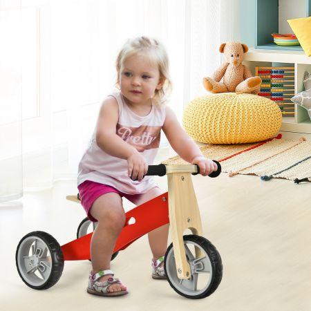 Costway Tricycle et Draisienne en Bois 2-en-1 avec Siège Réglable Roues Antichocs et Antidérapantes pour Enfants de 18 Mois à 3 Ans