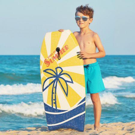 Costway Bodyboard 93 CM Planche de Surf Légère avec Noyau Pont Fond Lisse et Leash Poignet  pour Enfants Adolescents et Adultes