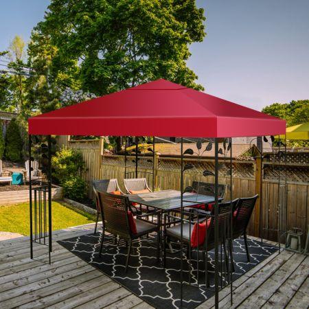 Costway Toile de Rechange pour Pavillon Toile de Toit pour Tente 300 x 300 cm Vin Rouge