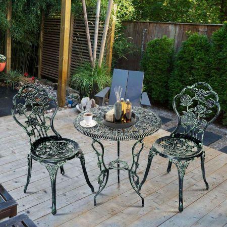 Costway Ensemble Table et 2 Chaises en Fonte Aluminium Forme de Rose Résistant aux Intempéries