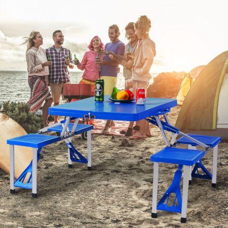 Costway Ensemble Table de Camping et 4 Chaises Pliable et Portable avec Trou de Parasol pour Pique-nique Barbecue
