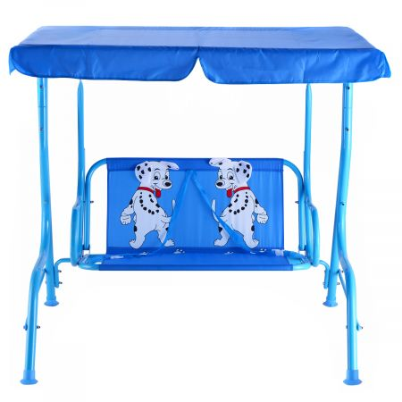 Balancelle de Jardin pour Enfants 2 Places,Toit Anti-UV Balançoire Jardin pour Enfants Chaise Bascule pour Enfants Bleu