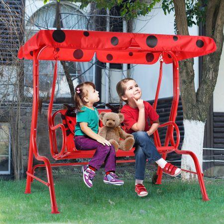 Balancelle de Jardin pour Enfants 2 Places,Toit Anti-UV Balançoire Jardin pour Enfants Chaise Bascule pour Enfants Rouge