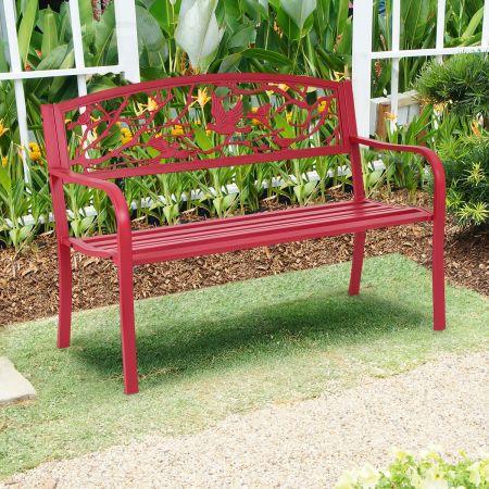 Costway Banc de Jardin en Fer Résistant de Haute Qualité Style Contemporain 2-3 Places Rouge Parfait pour Extérieur