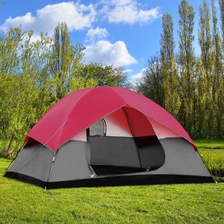 Costway Tente De Camping Étanche Double Couche 6 Personnes Tente Familiale 300x300x165cm Rose et Gris